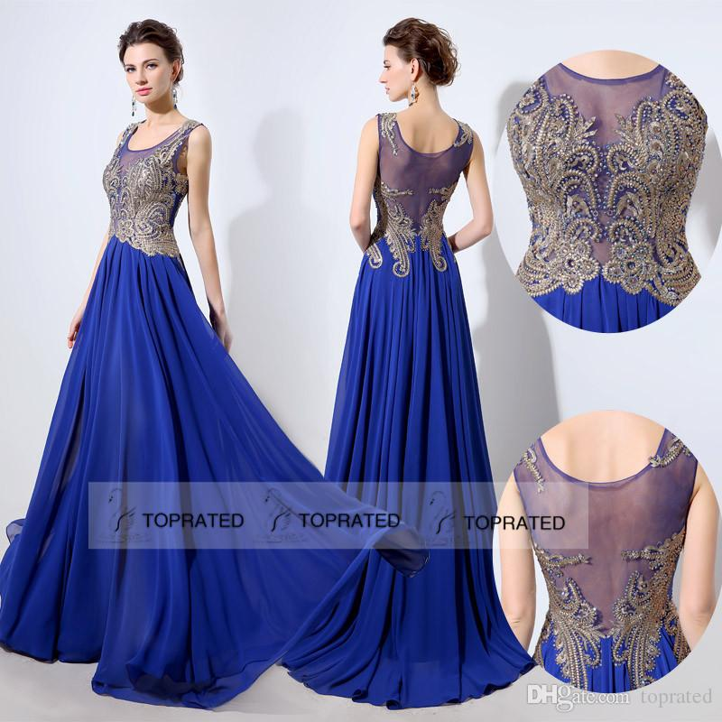 2016 Charming Royal Blue Prom Party Dresses Sheer Illusion ...