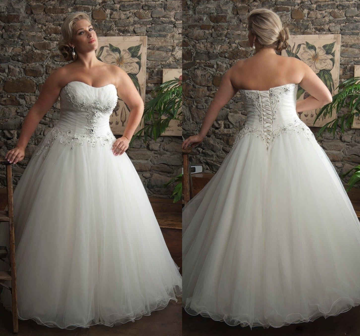 2015 modest plus size wedding dresses with sweetheart for Corset wedding dresses plus size