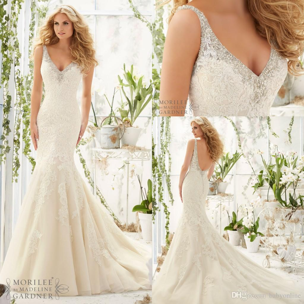 New 2016 Mermaid Lace Wedding Dresses Luxury Crystals