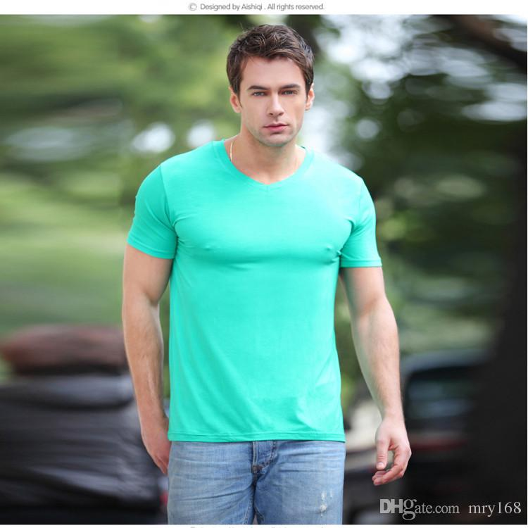 Bamboo fiber men 39 s summer v neck t shirt slim male sports for Bamboo fiber t shirt