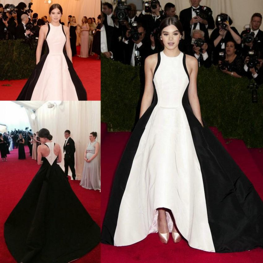 2015 met ball gala hailee steinfeld black white satin celebrity dresses ball gown draped formal - Black and white red carpet dresses ...