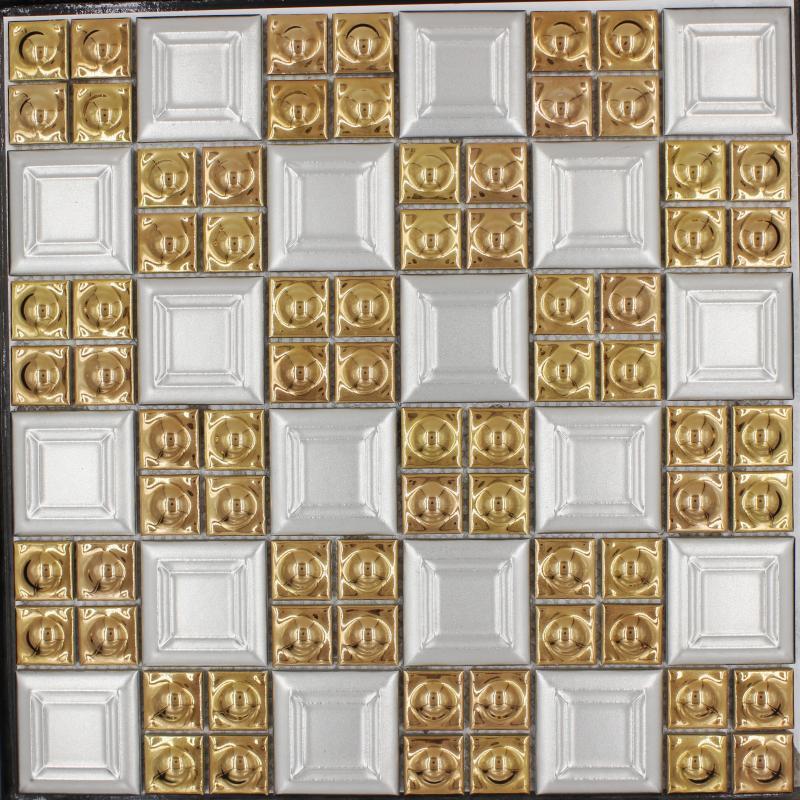 Hot Sale Porcelain Gold White Color Square Mosaic Tile Wall ...