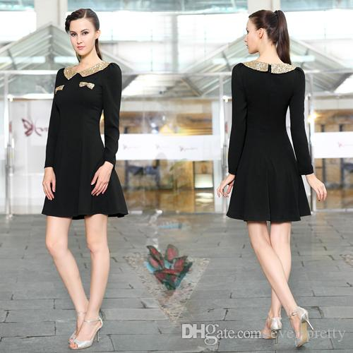 Fashion 2015 Cocktail Dresses Black Gold Sequins Crew Long Sleeves ...