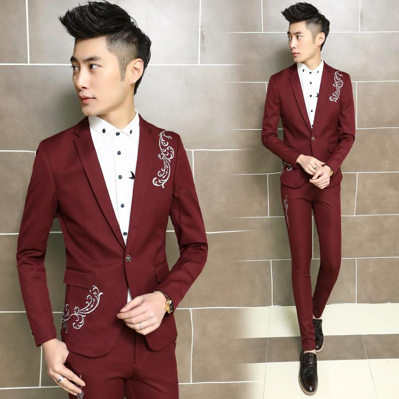2015 Male Embroidery Suit Designer Mens Blazers Slim Mens Print