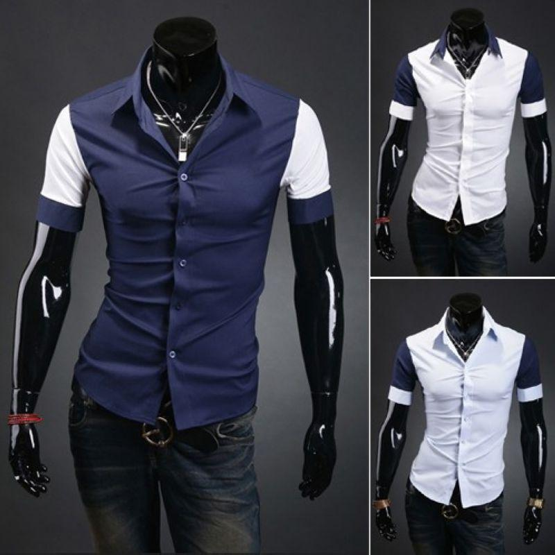2015 Summer Fashion Casual Shirt Design Blue White Fresh Color ...