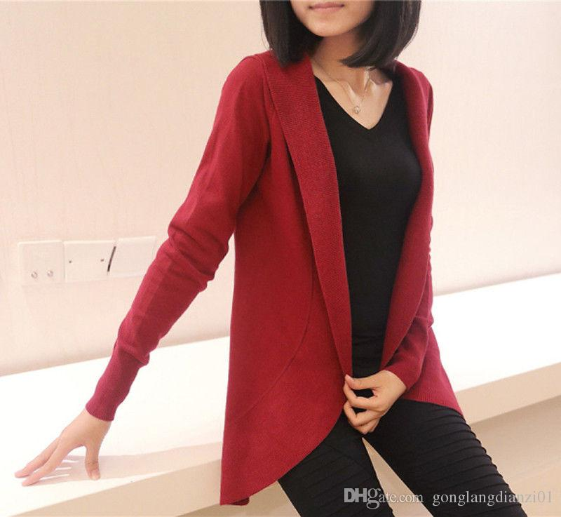 Red Open Front Cardigan Knit Open Front Cardigan