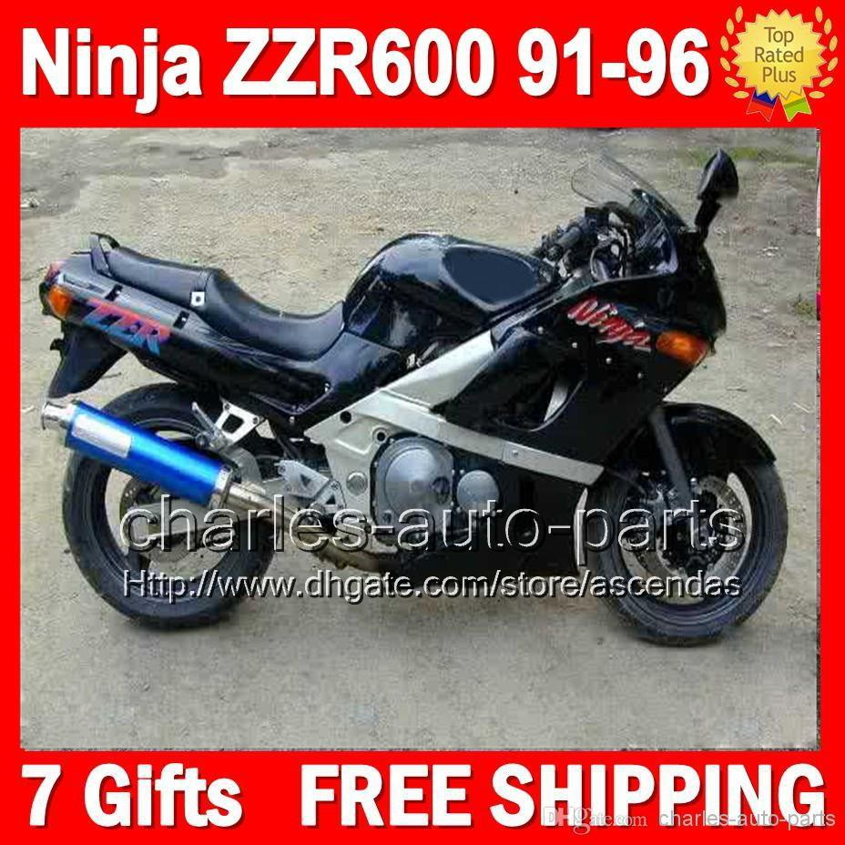 7gifts all gloss black for kawasaki ninja zzr600 91-96 zzr-600 zzr