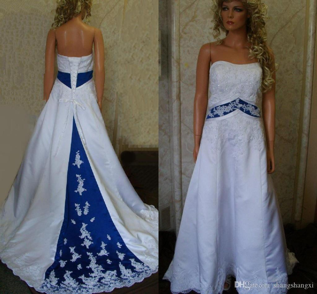 discount royal blue and white wedding dresses 2015 real