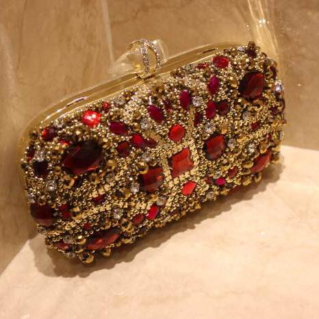 Luxury Red Crystals Bridal Hand Bags Evening Clutch Bags Wedding ...