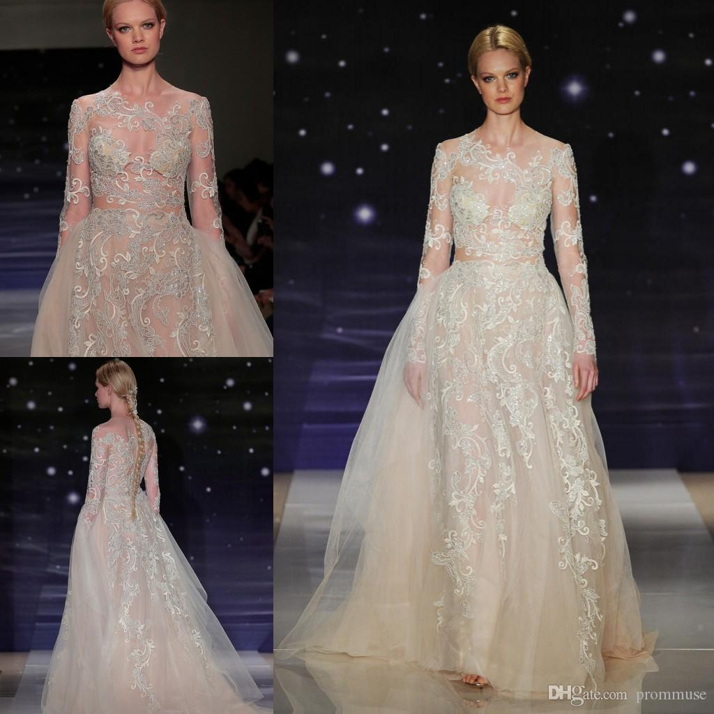 Amazing lace wedding dress reem acra 2015 new style sheer for Reem acra lace wedding dress