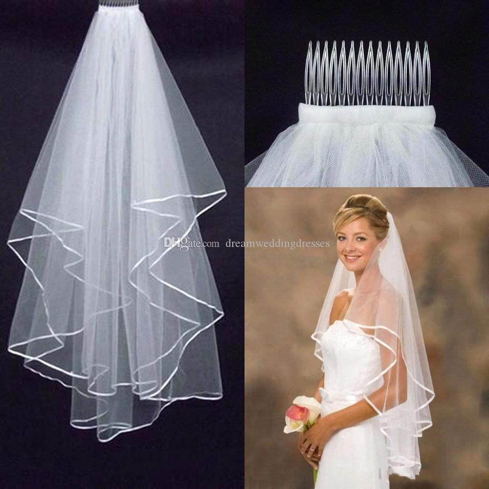 Dw 2 layers tulle short bridal veils 2016 hot sale cheap for Wedding dress ideas for short brides