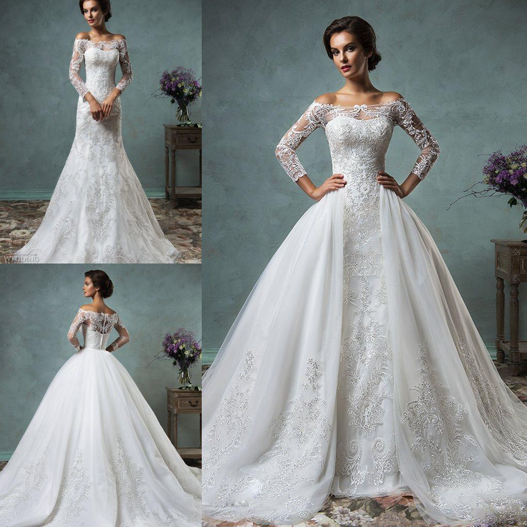 Vintage Lace Wedding Dresses With Detachable Overskirt