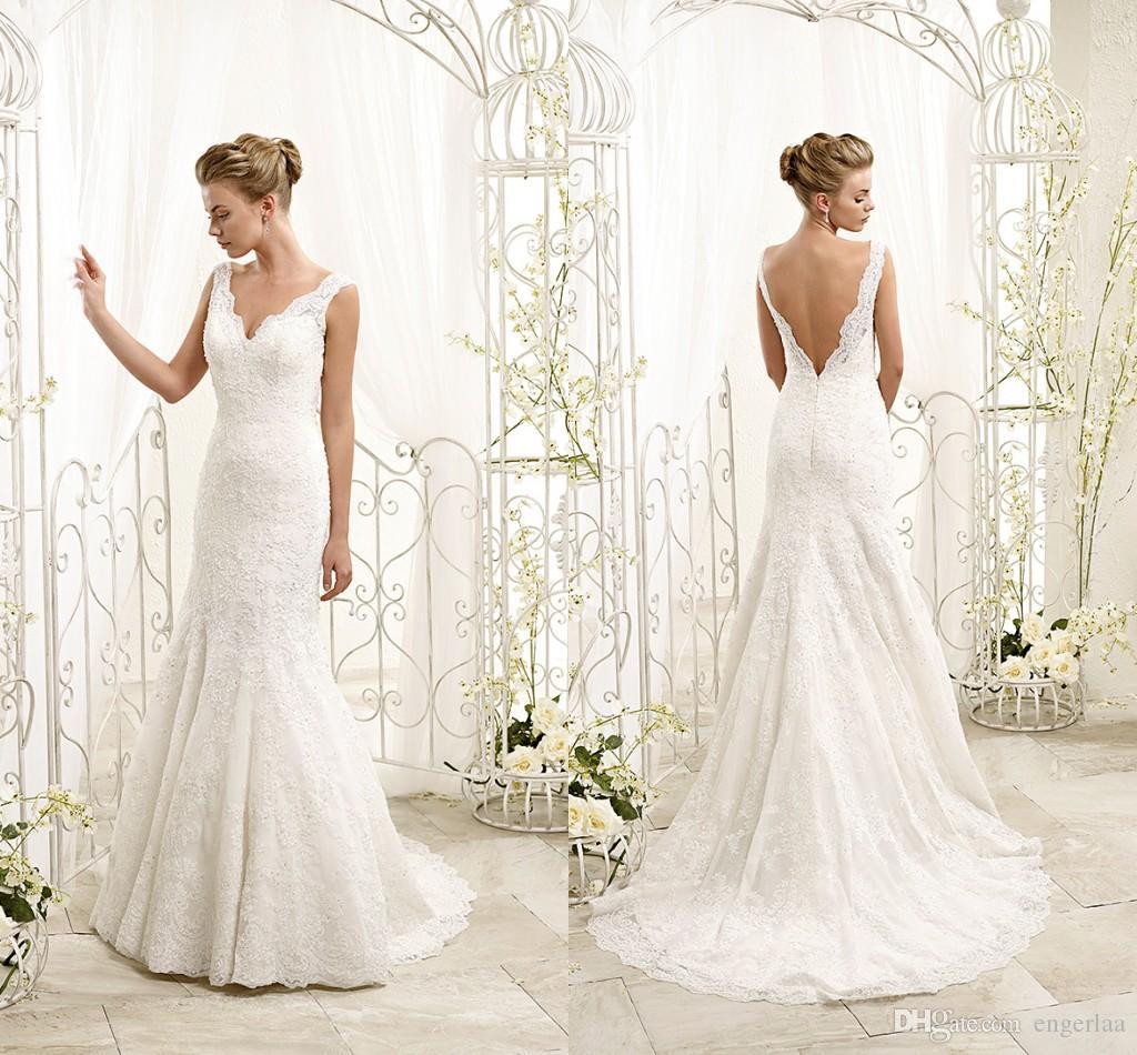 V Neck A Line Wedding Dresses y Low Back Sweep Train