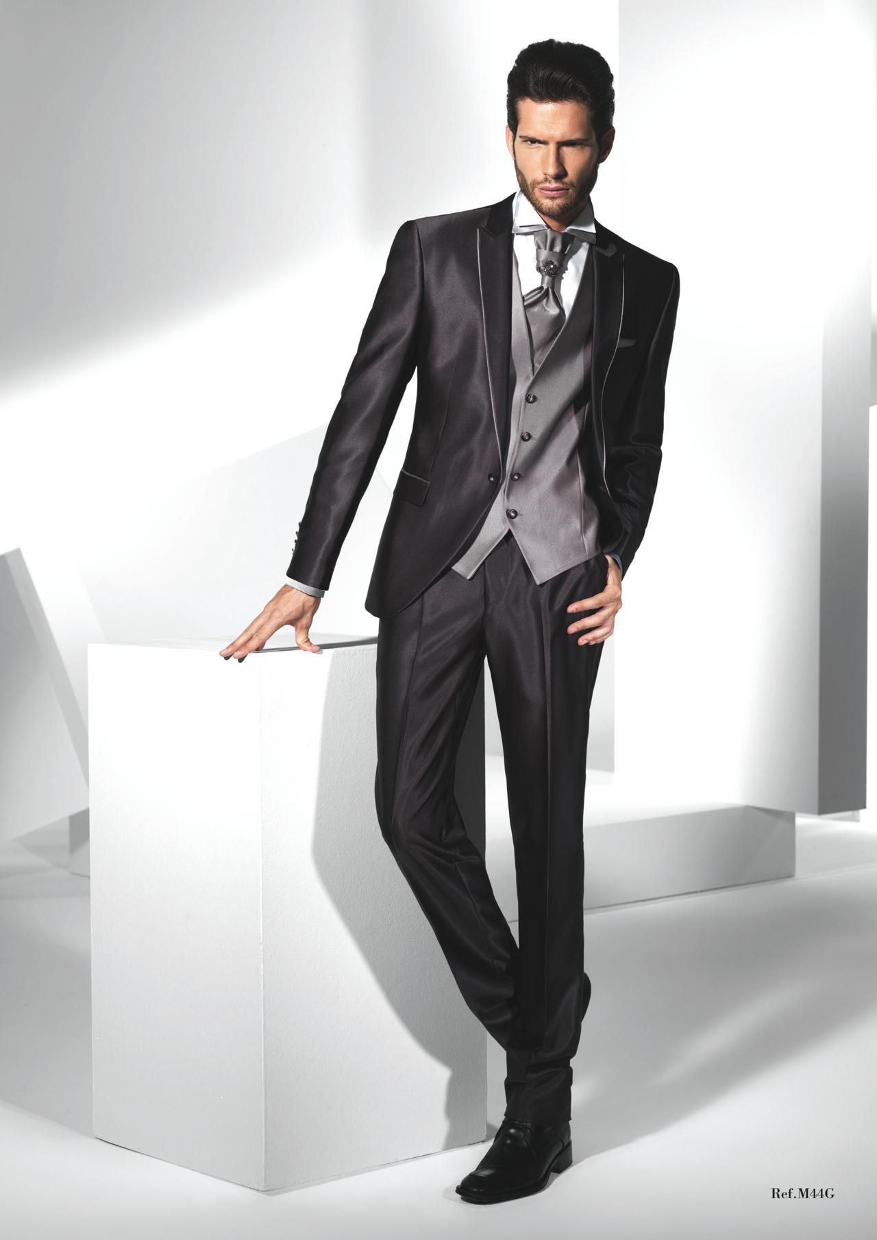 Wedding Mens Wedding Tuxedos dark grey suit mens wedding suits 2015 peaked lapel tuxedos one button groom suits
