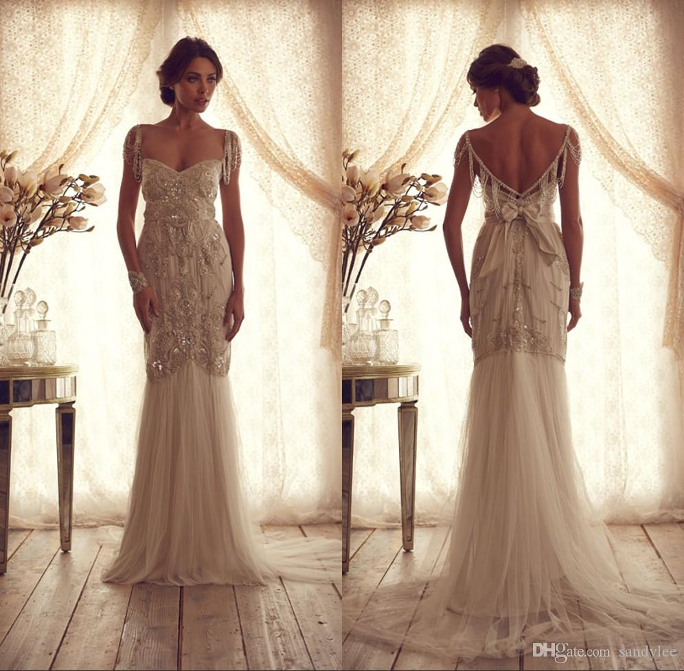 Discount Beautiful Vintage Long Low Back Wedding Dresses A Line ...