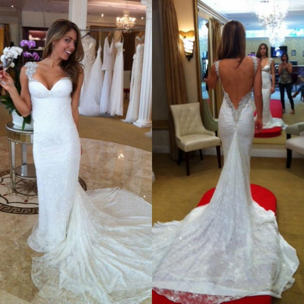 2015 designer backless wedding dress spaghetti sweetheart for Backless wedding dresses designer