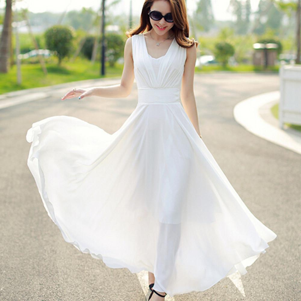 белое шифоновое платье на лето