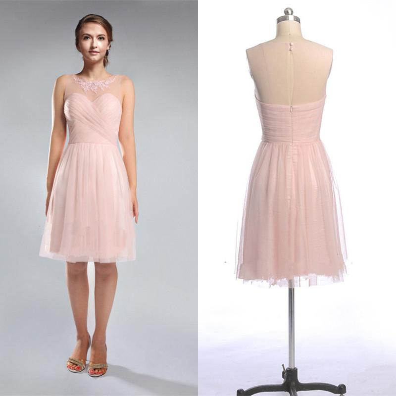 2015 Blush Pink Junior Bridesmaid Dresses Cheap Knee Length Crew ...