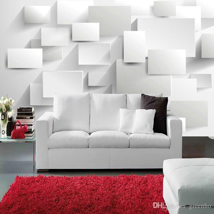 Modern 3d concise style photo wallpaper white space silk for Contemporary wall mural
