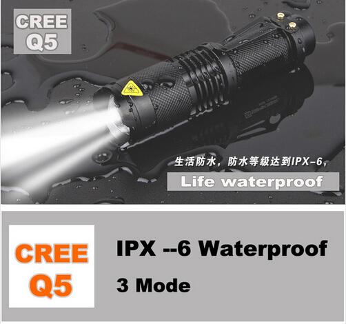Hot selling UK / USA Haute qualité Mini Black CREE 2000LM imperméable LED Flashl