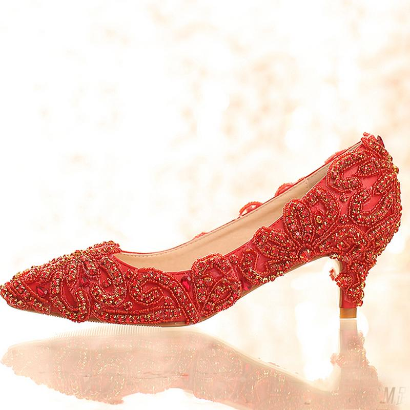 2016 new design bright wedding shoes red color rhinestone formal dress shoes lady party prom high