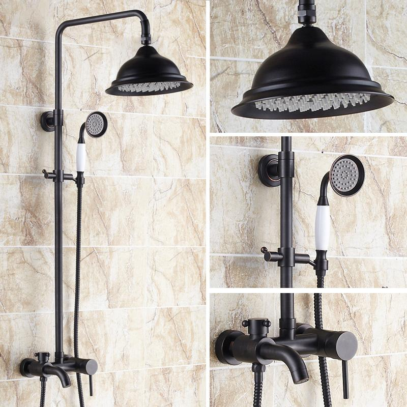 Black Rain Shower Faucets Set with Hand Shower Brass Wall Mounted