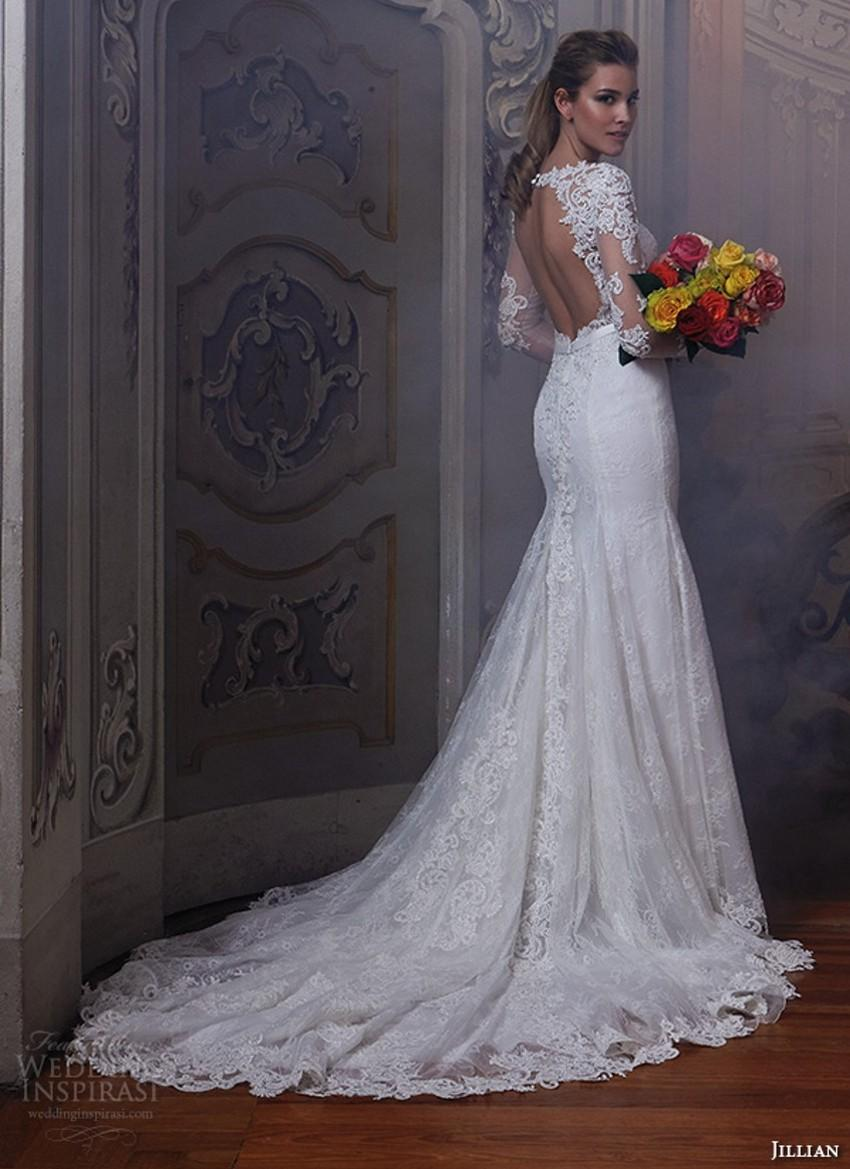2016 Keyhole Back Wedding Dresses Lace Sheer Long Sleeves Beaded Bodice Slim
