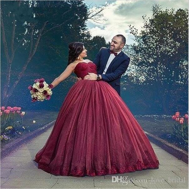 Burgundy 2016 spring plus size wedding dresses sweetheart for Burgundy wedding dresses plus size