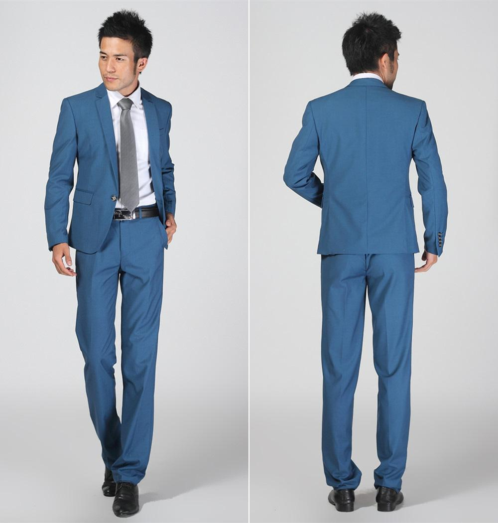 Blue Slim Fit Groom Tuxedos Prom Suits Best Man Suit Wedding ...