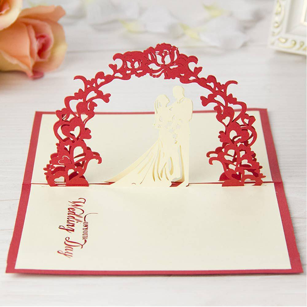 red 3d handmade cards wedding invitations creative personalized, Wedding invitations