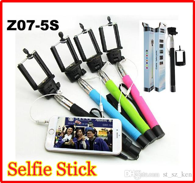 best quality z07 5s extendable handheld monopod audio cable mini wired selfie stick groove for. Black Bedroom Furniture Sets. Home Design Ideas