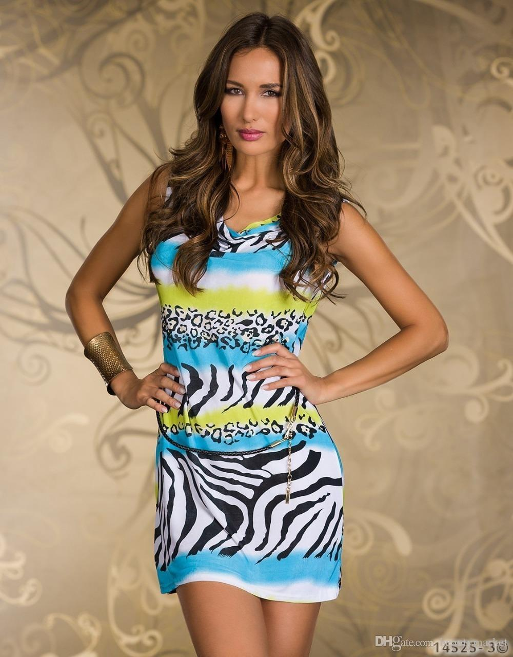 Nouveau 3 couleurs Sexy Zebra Leopard Geometric Print Mini-robe Sexy Night Club