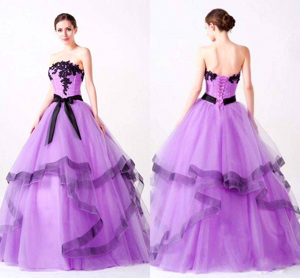 Light Purple Ball Gown Quinceanera Dresses Strapless Lace Applique ...