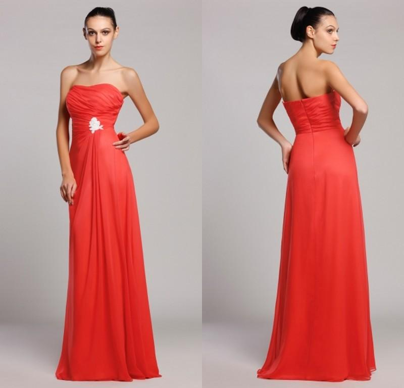 Modern long bridesmaid dresses coral a line formal wedding party dress