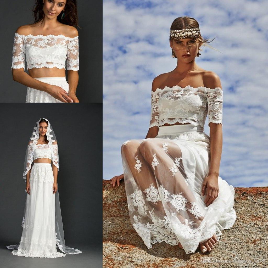 Discount Summer Beach Wedding Dresses 2015 Two Piece