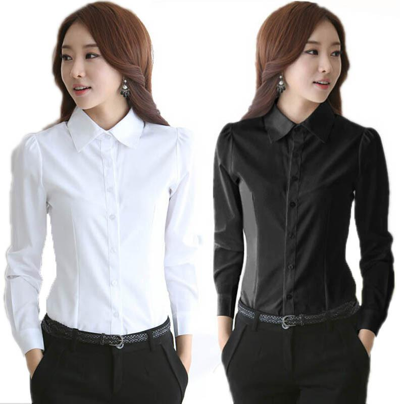 Women's Formal Chiffon Blouses White Button Down Work Shirts Long ...