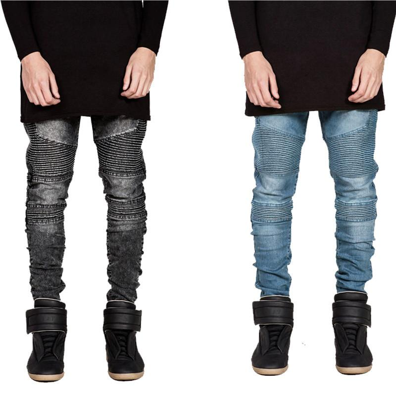 Online Cheap Hi Street Mens Ripped Biker Jeans Motorcycle Slim Fit ...