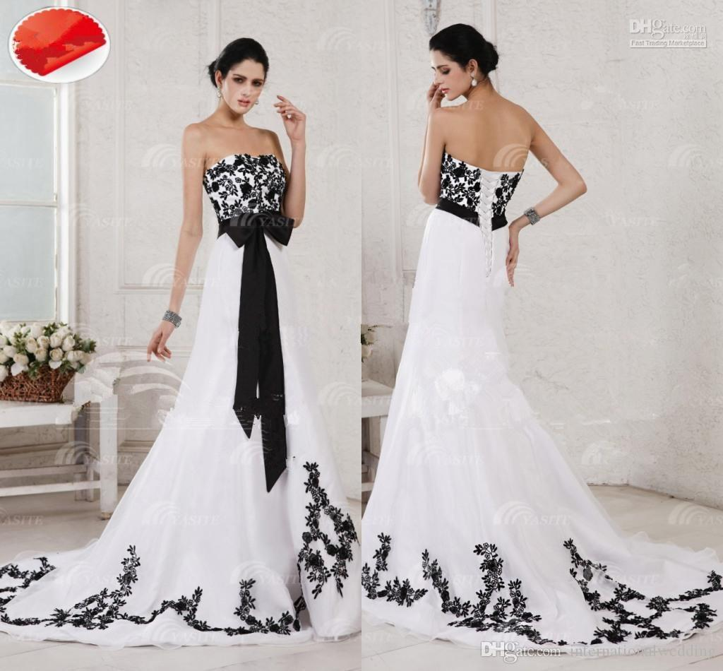 Discount wholesale newest white and black wedding dresses for Cheap black and white wedding dresses