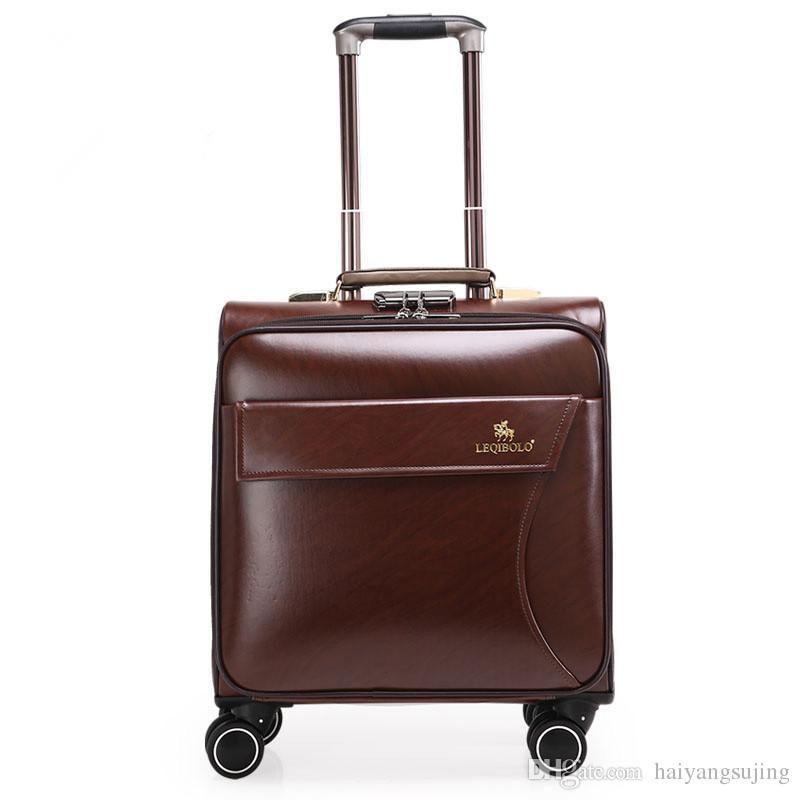 16 Inches Leather Trolley Luggage, Vintage Suitcase, Brown ...