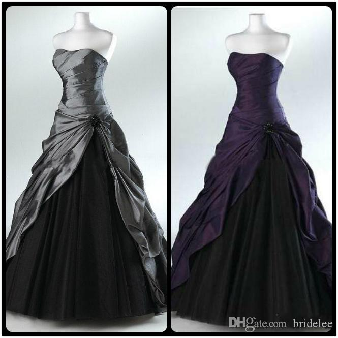 2016 purple and black ball gown gothic wedding dresses for for Purple and grey wedding dresses