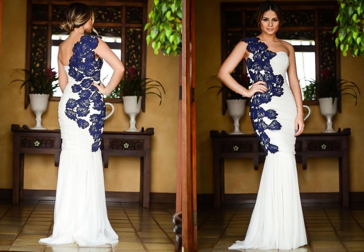 Wholesale White Chiffon Long Prom Dresses Shoulder Blue Lace ...