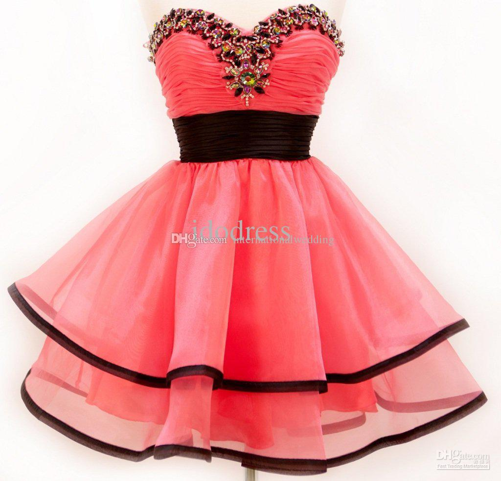 Holiday Dresses Prom A Line Organza Hot Pink Homecoming Dresses ...