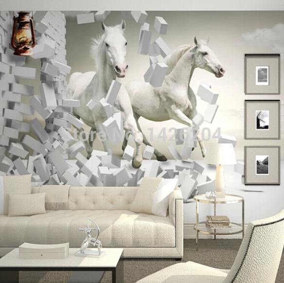 3d white horse wall murals wallpaper 3d horse custom wall for 3d wallpaper for living room india