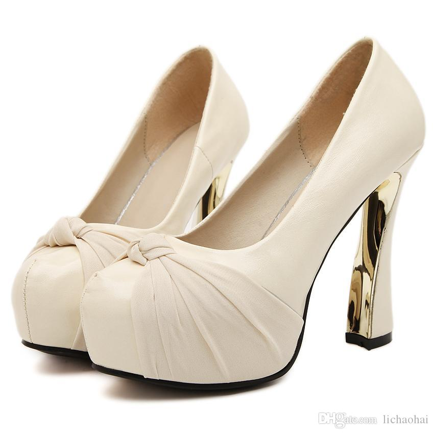2015 Romantic Satin Bow Pumps Spool Heel Off White Wedding Shoes