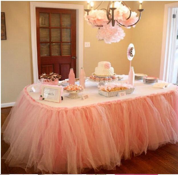 Cheap Cheap Wedding Tulle Tutu Table Skirt 100 Cm *80 Cm Princess Baby  Shower High Quality Peach Birthday Party Table Skirt