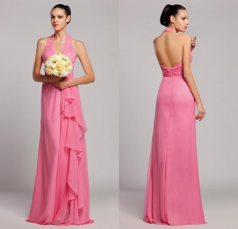 Modern long bridesmaid dresses coral formal wedding party dress 2015