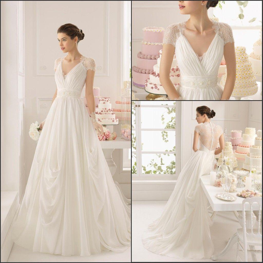Discount 2015 vintage v neck elegant cap sleeve beaded for Vintage italian wedding dresses