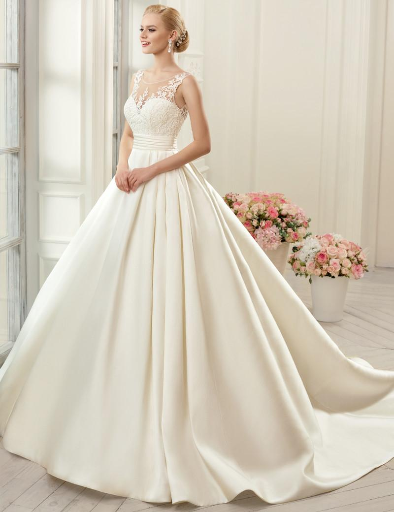 Cap Sleeve Sheer Neck Sexy Wedding Dresses Backless Bridal Gown A Line Satin WEdding Gown With