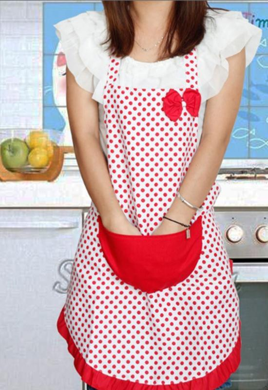 Delicate New Cute Bowknot Kitchen Restaurant Cooking Aprons With Pocket For Women Cooking Apron