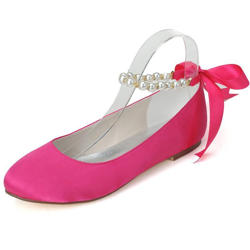 9872 15 cute flats fuchsia bridal shoes peral knot bridesmaid shoes